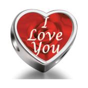 I Love You Rose Beads Charms DIY Heart Bracelet Charm V's Day Gift