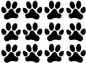 Paw Prints 2.5cm - 1.3cm - Black 13CC110 Fused Glass Decals