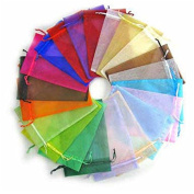 100pcs Mixed Colour Rectangle Organza Bags Xmas Festival Decoratiove Gift Bag Jewellery Pouch Bags Wedding Party Favour Bag Drawstring Candy Package 9x7cm