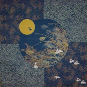 Furoshiki Wrapping Cloth Rabbit in the Moon w/ Navy Base Motif Japanese Fabric 50cm