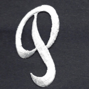 "SCRIPT LETTERS - White Script Letter ""P"" - Iron On Embroidered Applique"