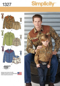 Simplicity American Sewing Guild Pattern 1327 Western Shirt and Tie, Boys Chest 22-27 (S-L) Men's Chest 34-48
