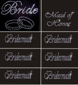 Lot of 8 Rhinestone Wedding Iron on Transfer (1 Bride) (1 Maid of Honour)