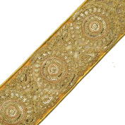 Beaded Sequin GOLD Metallic Lace Trim for Bridal, Costume or Jewellery, Crafts and Sewing, 7cm by 1 Yard, SMB-2042