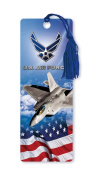 Dimension 9 3D Lenticular Bookmark with Tassel, U.S. Air Force Featuring F-22 Raptor Fighter Jet and American Flag