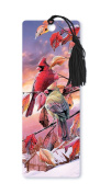 Dimension 9 3D Lenticular Bookmark with Tassel, Cardinals in Snowy Tree at Sunset
