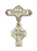 ReligiousObsession's Gold Filled Baby Badge with Celtic Cross Charm and Godchild Badge Pin