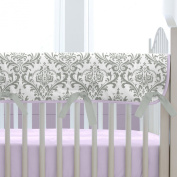Carousel Designs Lilac and Grey Traditions Damask Crib Rail Cover