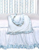 Go Mama Go Designs Oversized White Cuddle Minky With Bluebird Trim Toddler Blanket, Blue/White