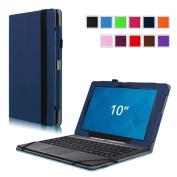 Fintie Dell Venue 10 / Venue 10 Pro 5000 Series Case - [Folio Fit] Premium Leather Keyboard Stand Cover with Auto Sleep/Wake Feature for New Venue 10 (Model 5050) Android Tablet / Venue 10 Pro (Model 5055) Windows Tablet, Navy