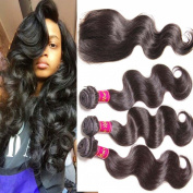Unice Hair Free Part 1pc 4x4 Lace Closure with Virgin Brazilian Human Hair 3 Bundles Weaves 4pcs Lot Body Wave Natural Colour