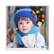 Beanie Scarf Set,FuzzyGreen® Winter Kids Hats Scarfs Knit Christmas Gifts for Girls