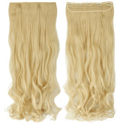 70cm Long Curly/Wavy Synthetic Women Ladies 5 Clips in on Hair Extensions Full Head Bleach Blonde
