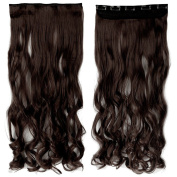70cm Long Curly/Wavy Synthetic Women Ladies 5 Clips in on Hair Extensions Full Head Medium Brown