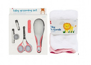 Baby Grooming Set, Kit Contains Safety Scissors with Sleeve, Hair Brush, Nail clippers with Safety Holder, Face Cloths Towels