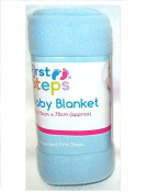 First Steps Soft Fleece Washable Baby Blanket 70cm x 70cm 0M + Blue
