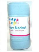 First Steps Soft Fleece Washable Baby Blanket 70cm x 70cm 0M + Blue