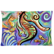 Sea Horse Background Comfortable Cotton & Polyester Pillowcase/Pillow slip/Cushion case/pillow cover