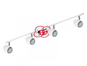 BRITOP LIGHTING Child's Ceiling Light Fly model Fly Schienenleuchte 4 Spotlight / Includes 4 x GU10, 4.5 W LED 2209402 Ladybird Metal Chrome / White