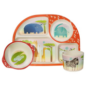 Bamboo Fibre Childrens 3 Piece Dining Set - SAFARI