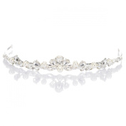 Remedios Vintage Pearl and Rhinestone Tiara Wedding Bridal Hair Accessory, Silver