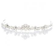 Remedios Vintage Pearl and Rhinestone Tiara Wedding Bridal Hair Accessory, Silver
