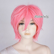 Lovely Pink Layered 30cm Long Women Men Anime Heat Resistant Cosplay Wig+Cap
