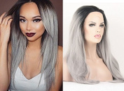Sunwell Natural Straight Ombre Synthetic Lace Front Wigs Black to Grey