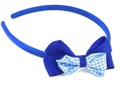 Girls Aliceband Satin Feel Checked Gingham Double Bow Hair Band School Colours