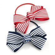 2 Red & Navy Retro Stripy Bow Hair Elastics