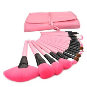 Housweety 24pcs Roll up Case Cosmetic Brushes Kits Pro Wooden Handle Makeup Brushes Tools