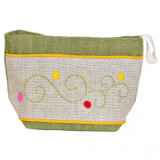 Madaraff Hand Embroidered Cotton Vanity Cosmetics Bag Large - Khaki