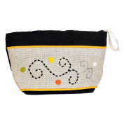 Madaraff Hand Embroidered Cotton Vanity Cosmetics Bag Medium - Black