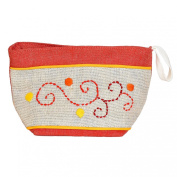 Madaraff Hand Embroidered Cotton Vanity Cosmetics Bag Medium - Red
