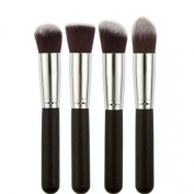 Ularmo Women 4 Pcs Black Synthetic Kabuki Flat Foundation Brush