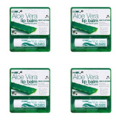 (4 PACK) - Aloe Vera Aloe Vera Lip Balm   4g   4 PACK - SUPER SAVER - SAVE MONEY