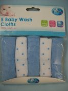 Pack of 5 Baby Wash cloths, BLUE and white colours, First Steps Range, fs322BL