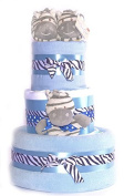 3 Tier Baby Boys print Zebra Stripes Blue shower Nappy Cake - FAST.