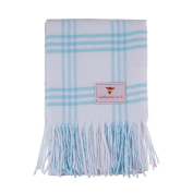 Softest Cotton Cheque Baby Blanket-Soft Blue