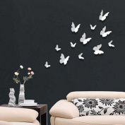 Walplus 3D Butterflu-White Walplus 12-Piece 3D Butterfly Wall Stickers Butterflies Home Improvement Deco, White