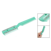 Green Plastic Comb w 2 Pcs Hair Cutting Trimmer Razor