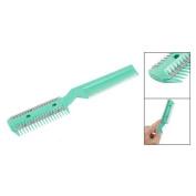 Green Plastic Comb w 2 Pcs Hair Cutting Trimmer Razor
