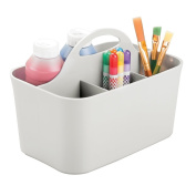 mDesign Art Supplies, Crafts, Crayons and Sewing Organiser Tote - Light Grey