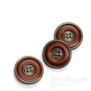 Set of 3 Red Brown Leather Suit & Overcoat Buttons with Antique Brass Detailing, 36 Line, Made in Italy