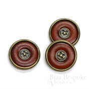 Set of 3 Red Brown Leather Suit & Overcoat Buttons with Antique Brass Detailing, 40 Line, Made in Italy