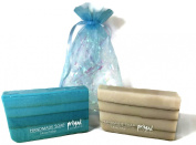 Spa Day Glycerin Soap Primal Elements Set Includes 1 Dead Sea Mud Bar & 1 Rhassoul Clay Bar in an Organza Gift Bag with Elegant Crinkle. Handcrafted with Exotic Notes of Citrus, Herbs and Amber.
