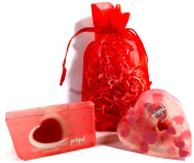 Sweetheart Glycerin Soap Set Includes 2 Primal Elements Soap Bars. Cherish Bar & Heart Shaped Bar Come in an Organza Gift Bag with Pretty Crinkle. Handcrafted. Mixed Berries/Vanilla & Sandalwood/Musk.