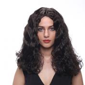 STfantasy 60cm Natural Looking Long Curly Wave Black Kanekalon Wig