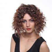 STfantasy Natural Short Brown Curly Afro Wig for Black Women