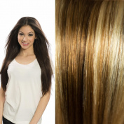 Clenna® - Clip-In Hair Extensions, Piano Blend Light Chestnut Brown & Golden Blonde (colour
